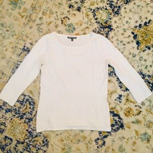 CABLE & GAUGE White Jewel Neck Piped 3/4-Sleeve S